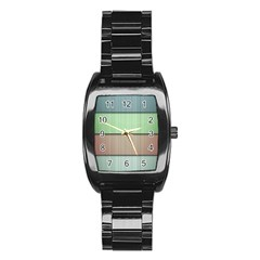 Lines Stripes Texture Colorful Stainless Steel Barrel Watch