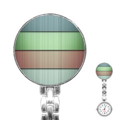 Lines Stripes Texture Colorful Stainless Steel Nurses Watch