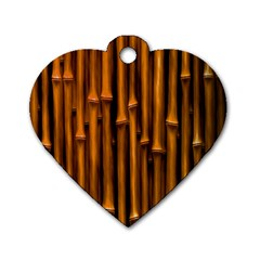 Abstract Bamboo Dog Tag Heart (one Side)