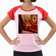 Digital Art Nature Spider Witch Spiderwebs Bricks Window Trees Fire Boiler Cliff Rock Women s Cap Sleeve T Shirt
