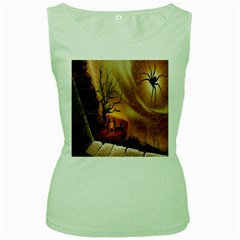Digital Art Nature Spider Witch Spiderwebs Bricks Window Trees Fire Boiler Cliff Rock Women s Green Tank Top