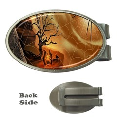 Digital Art Nature Spider Witch Spiderwebs Bricks Window Trees Fire Boiler Cliff Rock Money Clips (oval)