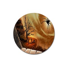 Digital Art Nature Spider Witch Spiderwebs Bricks Window Trees Fire Boiler Cliff Rock Magnet 3  (round)