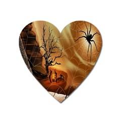 Digital Art Nature Spider Witch Spiderwebs Bricks Window Trees Fire Boiler Cliff Rock Heart Magnet