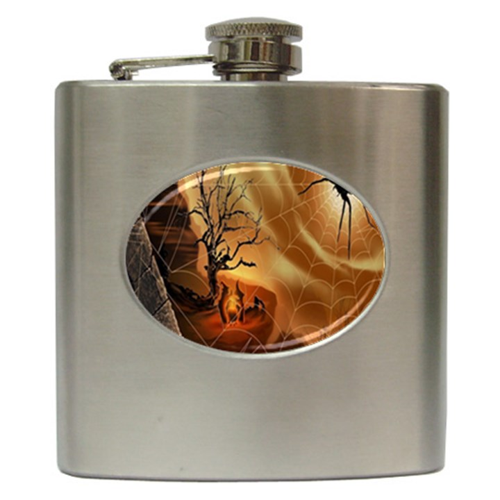 Digital Art Nature Spider Witch Spiderwebs Bricks Window Trees Fire Boiler Cliff Rock Hip Flask (6 oz)