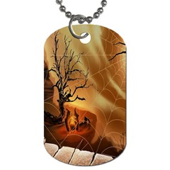 Digital Art Nature Spider Witch Spiderwebs Bricks Window Trees Fire Boiler Cliff Rock Dog Tag (two Sides)