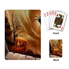 Digital Art Nature Spider Witch Spiderwebs Bricks Window Trees Fire Boiler Cliff Rock Playing Card