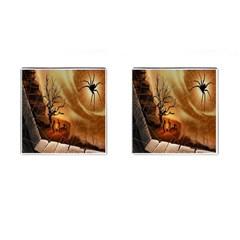 Digital Art Nature Spider Witch Spiderwebs Bricks Window Trees Fire Boiler Cliff Rock Cufflinks (Square)