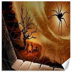 Digital Art Nature Spider Witch Spiderwebs Bricks Window Trees Fire Boiler Cliff Rock Canvas 16  X 16