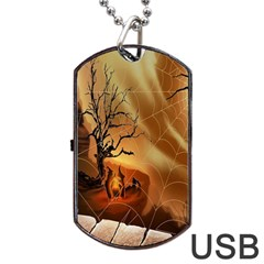 Digital Art Nature Spider Witch Spiderwebs Bricks Window Trees Fire Boiler Cliff Rock Dog Tag USB Flash (Two Sides)