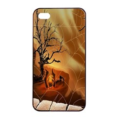 Digital Art Nature Spider Witch Spiderwebs Bricks Window Trees Fire Boiler Cliff Rock Apple iPhone 4/4s Seamless Case (Black)