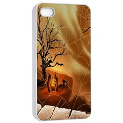 Digital Art Nature Spider Witch Spiderwebs Bricks Window Trees Fire Boiler Cliff Rock Apple Iphone 4/4s Seamless Case (white)