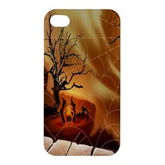 Digital Art Nature Spider Witch Spiderwebs Bricks Window Trees Fire Boiler Cliff Rock Apple Iphone 4/4s Hardshell Case