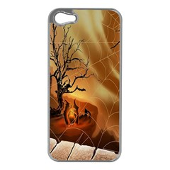 Digital Art Nature Spider Witch Spiderwebs Bricks Window Trees Fire Boiler Cliff Rock Apple Iphone 5 Case (silver)