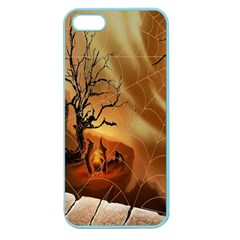 Digital Art Nature Spider Witch Spiderwebs Bricks Window Trees Fire Boiler Cliff Rock Apple Seamless iPhone 5 Case (Color)