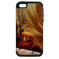 Digital Art Nature Spider Witch Spiderwebs Bricks Window Trees Fire Boiler Cliff Rock Apple iPhone 5 Hardshell Case (PC+Silicone)