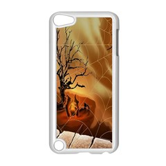 Digital Art Nature Spider Witch Spiderwebs Bricks Window Trees Fire Boiler Cliff Rock Apple iPod Touch 5 Case (White)