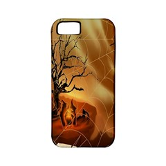 Digital Art Nature Spider Witch Spiderwebs Bricks Window Trees Fire Boiler Cliff Rock Apple iPhone 5 Classic Hardshell Case (PC+Silicone)