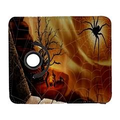 Digital Art Nature Spider Witch Spiderwebs Bricks Window Trees Fire Boiler Cliff Rock Galaxy S3 (flip/folio)