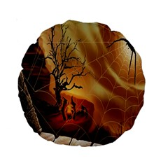Digital Art Nature Spider Witch Spiderwebs Bricks Window Trees Fire Boiler Cliff Rock Standard 15  Premium Round Cushions