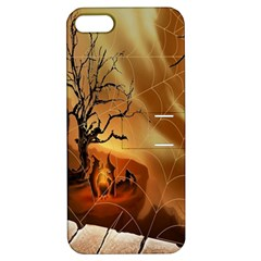 Digital Art Nature Spider Witch Spiderwebs Bricks Window Trees Fire Boiler Cliff Rock Apple iPhone 5 Hardshell Case with Stand