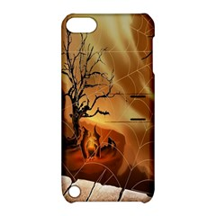 Digital Art Nature Spider Witch Spiderwebs Bricks Window Trees Fire Boiler Cliff Rock Apple iPod Touch 5 Hardshell Case with Stand