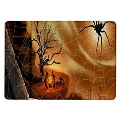 Digital Art Nature Spider Witch Spiderwebs Bricks Window Trees Fire Boiler Cliff Rock Samsung Galaxy Tab 10.1  P7500 Flip Case