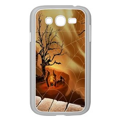 Digital Art Nature Spider Witch Spiderwebs Bricks Window Trees Fire Boiler Cliff Rock Samsung Galaxy Grand DUOS I9082 Case (White)