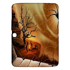 Digital Art Nature Spider Witch Spiderwebs Bricks Window Trees Fire Boiler Cliff Rock Samsung Galaxy Tab 3 (10.1 ) P5200 Hardshell Case
