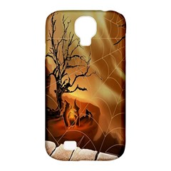 Digital Art Nature Spider Witch Spiderwebs Bricks Window Trees Fire Boiler Cliff Rock Samsung Galaxy S4 Classic Hardshell Case (PC+Silicone)