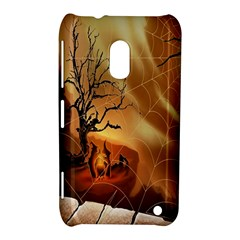 Digital Art Nature Spider Witch Spiderwebs Bricks Window Trees Fire Boiler Cliff Rock Nokia Lumia 620