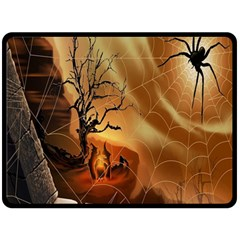 Digital Art Nature Spider Witch Spiderwebs Bricks Window Trees Fire Boiler Cliff Rock Double Sided Fleece Blanket (large)