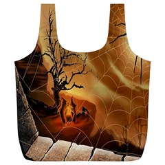 Digital Art Nature Spider Witch Spiderwebs Bricks Window Trees Fire Boiler Cliff Rock Full Print Recycle Bags (L)