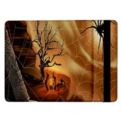 Digital Art Nature Spider Witch Spiderwebs Bricks Window Trees Fire Boiler Cliff Rock Samsung Galaxy Tab Pro 12.2  Flip Case