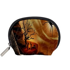 Digital Art Nature Spider Witch Spiderwebs Bricks Window Trees Fire Boiler Cliff Rock Accessory Pouches (Small)