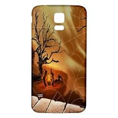 Digital Art Nature Spider Witch Spiderwebs Bricks Window Trees Fire Boiler Cliff Rock Samsung Galaxy S5 Back Case (White)