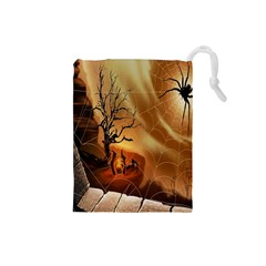 Digital Art Nature Spider Witch Spiderwebs Bricks Window Trees Fire Boiler Cliff Rock Drawstring Pouches (small)
