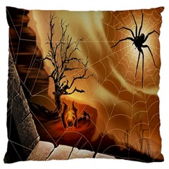 Digital Art Nature Spider Witch Spiderwebs Bricks Window Trees Fire Boiler Cliff Rock Large Flano Cushion Case (One Side)