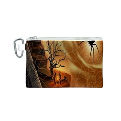 Digital Art Nature Spider Witch Spiderwebs Bricks Window Trees Fire Boiler Cliff Rock Canvas Cosmetic Bag (s)