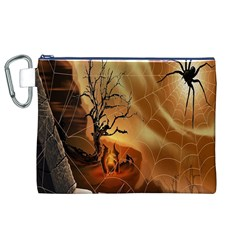 Digital Art Nature Spider Witch Spiderwebs Bricks Window Trees Fire Boiler Cliff Rock Canvas Cosmetic Bag (xl)
