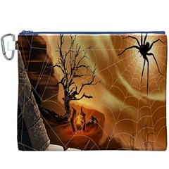 Digital Art Nature Spider Witch Spiderwebs Bricks Window Trees Fire Boiler Cliff Rock Canvas Cosmetic Bag (xxxl)
