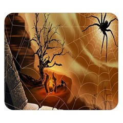 Digital Art Nature Spider Witch Spiderwebs Bricks Window Trees Fire Boiler Cliff Rock Double Sided Flano Blanket (Small)