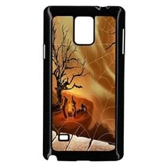 Digital Art Nature Spider Witch Spiderwebs Bricks Window Trees Fire Boiler Cliff Rock Samsung Galaxy Note 4 Case (black)