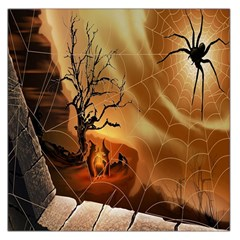 Digital Art Nature Spider Witch Spiderwebs Bricks Window Trees Fire Boiler Cliff Rock Large Satin Scarf (Square)