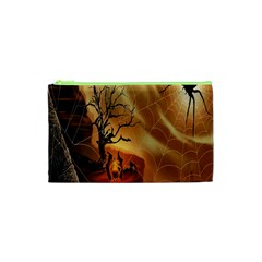 Digital Art Nature Spider Witch Spiderwebs Bricks Window Trees Fire Boiler Cliff Rock Cosmetic Bag (xs)