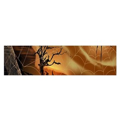 Digital Art Nature Spider Witch Spiderwebs Bricks Window Trees Fire Boiler Cliff Rock Satin Scarf (oblong)
