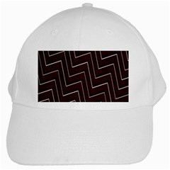 Lines Pattern Square Blocky White Cap