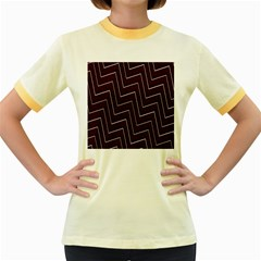 Lines Pattern Square Blocky Women s Fitted Ringer T Shirts