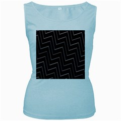 Lines Pattern Square Blocky Women s Baby Blue Tank Top