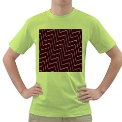 Lines Pattern Square Blocky Green T-Shirt